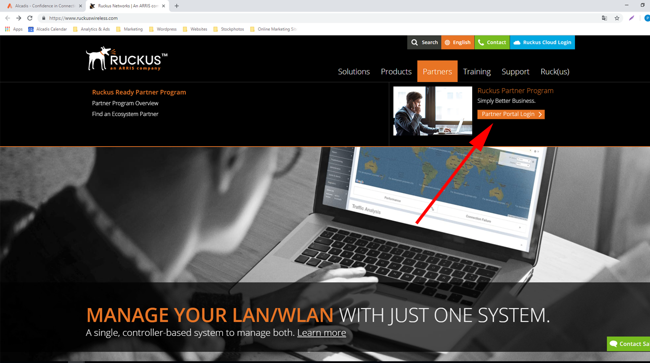 Screenshot Ruckus Partnerportal