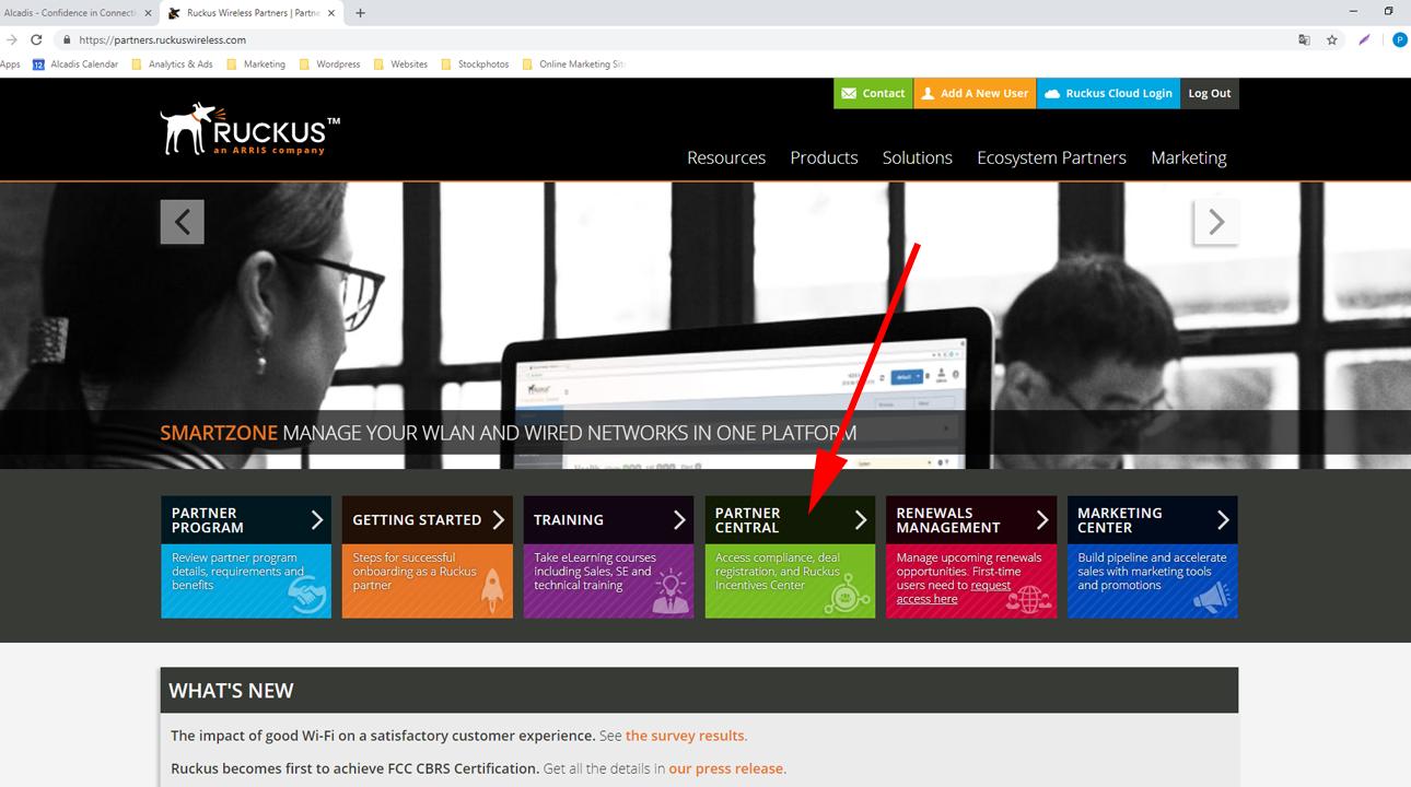 Screenshot Ruckus Partnerportal