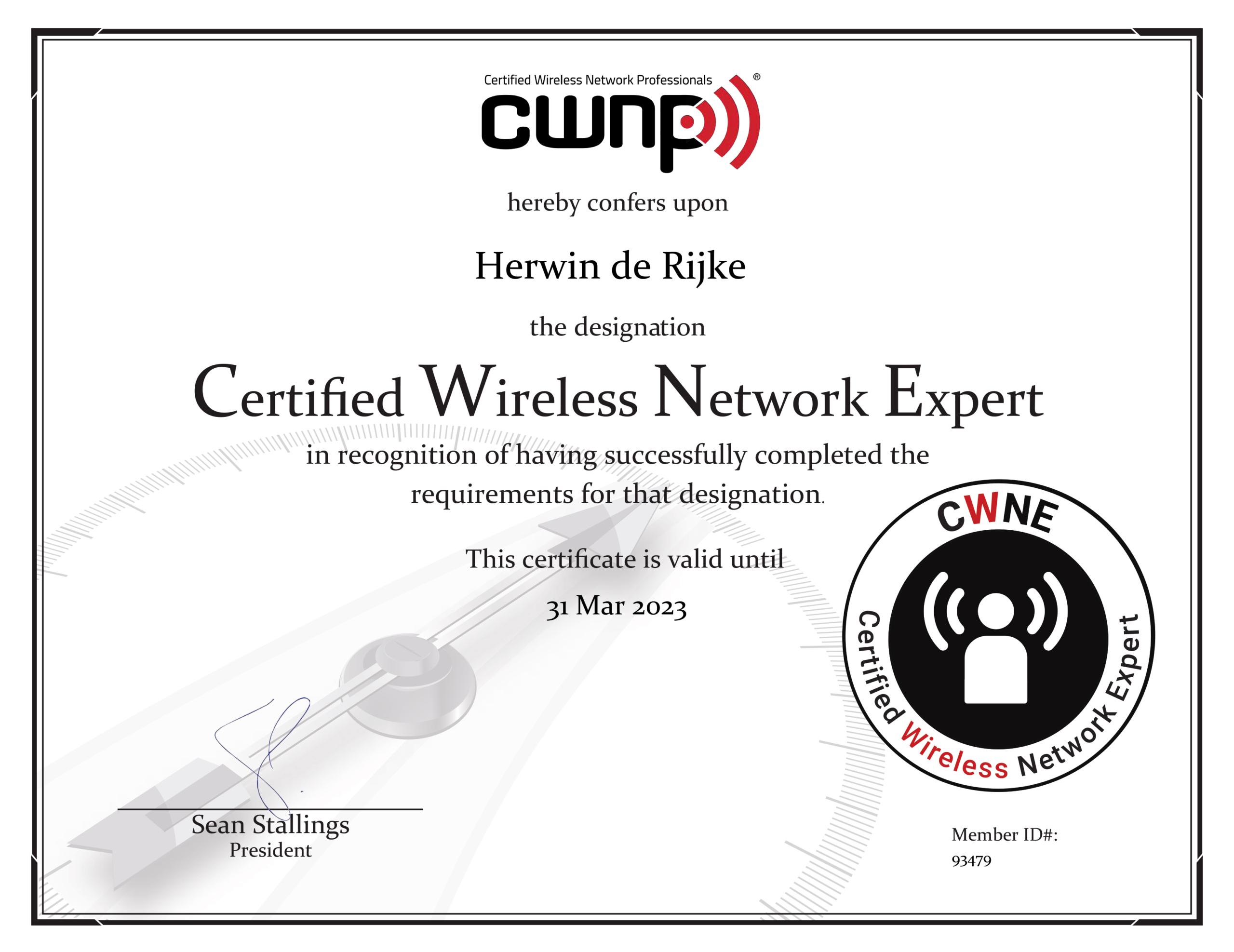 CWNE Certificaat Herwin de Rijke